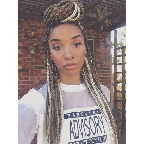 Black Girl With Dark Blonde Box Braids Afro Hairstyle