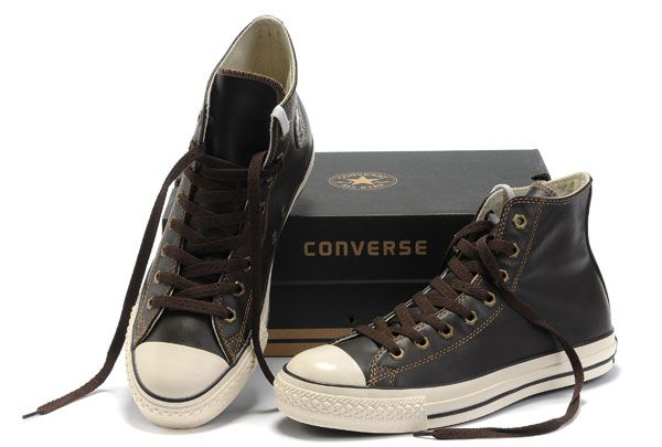 9c38a2b040f8  converse Brown Converse High Tops All Star OX Leather Sneakers. Classic  Converse With Hexagonal Metal Buckle ...