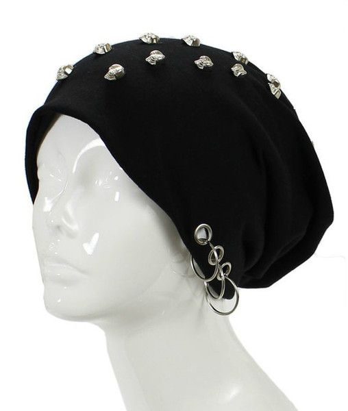 Unisex Goth Skull Studs Grommet Silver Ring Accent Beanie Hat - GoGetGlam -  1 aef8d3ca112