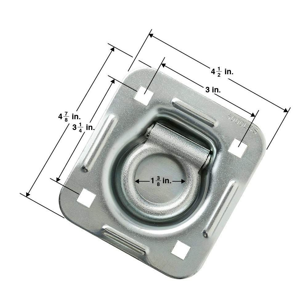 D-Ring Recessed 6,000 lb Cap Trailer Tiedown Anchor w// Backing Plate  4-Pack
