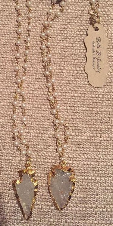 Pearl Chain Necklace with 24k Gold & Clear Quartz Arrowhead