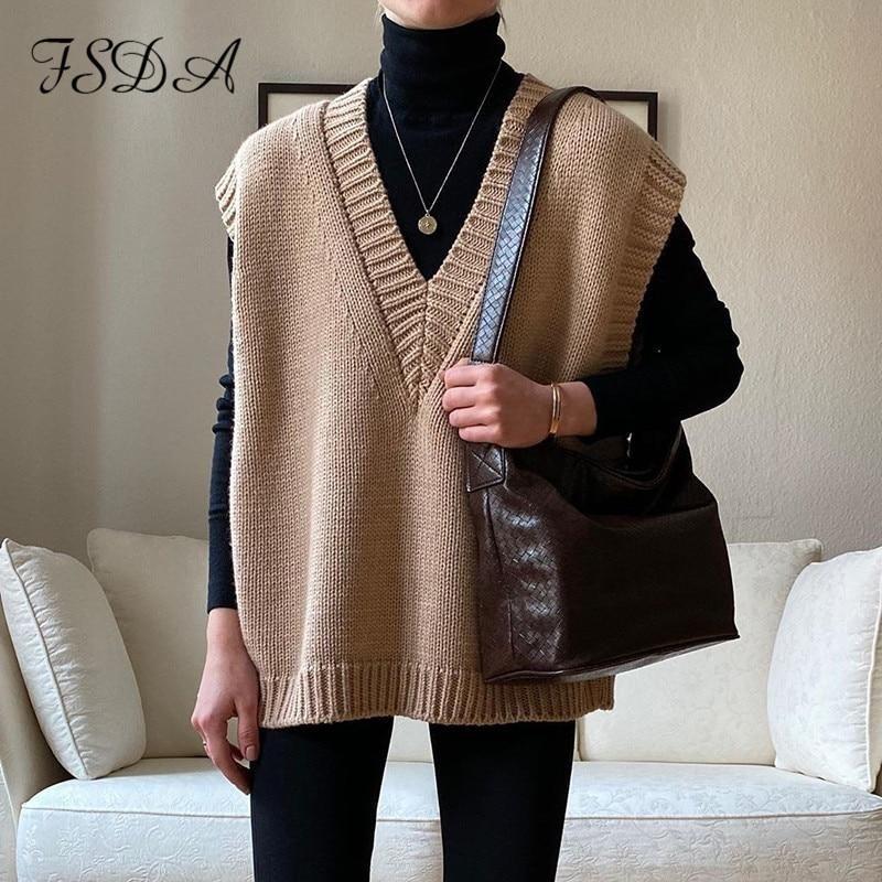 FSDA V Neck Knitted Vest Sweater Sleeveless Women Khaki Casual Pullover Black 2020 Autumn Winter Gray Jumper Fashion - L / Khaki
