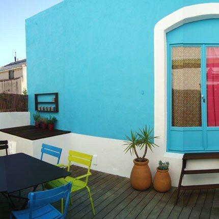 Murs bleus turquoise jardin et ext rieurs pinterest - Deco terrasse la terrasse de style iles grecques et mediterraneen ...