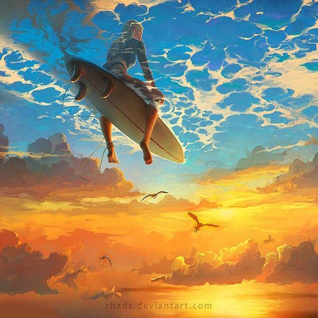 2014 Beautiful World #rhads #my #beautiful #surf #girl #surfing #digital_art #art #digital #sky #cloud #clouds #painting #drawing #color #photoshop rhads.deviantart.com