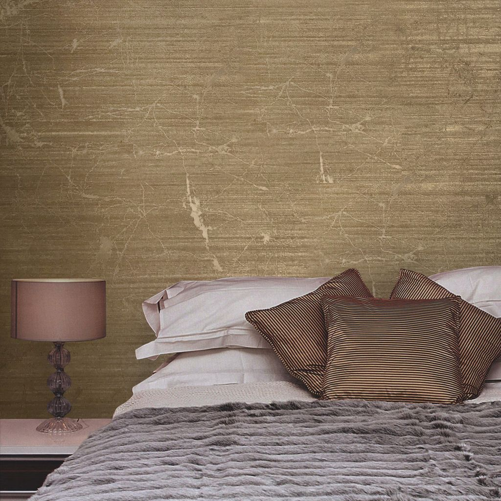 125052 Plain Bronze Brown Metallic Textured Wallpaper