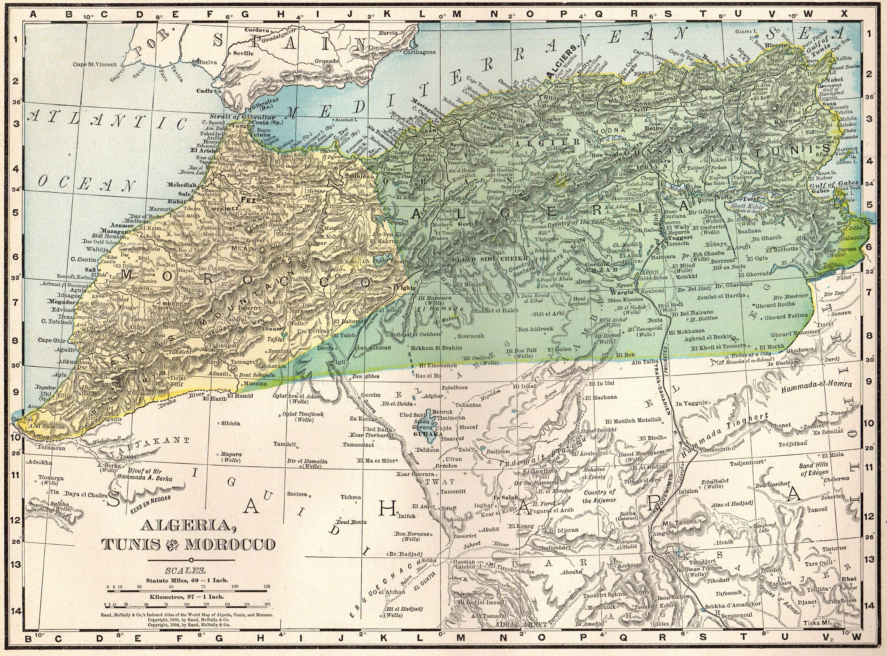 1901 Antique MOROCCO Map Algeria Map of Morocco Africa