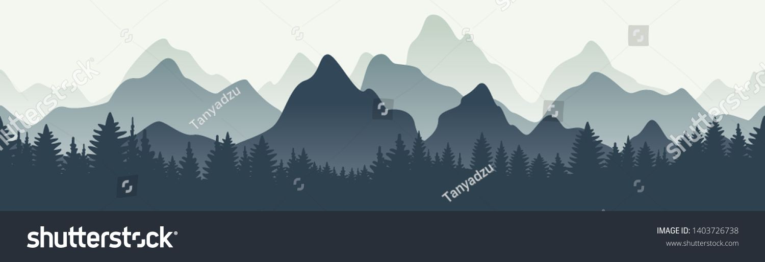Horizontal Mountain Landscape With Trees Seamless Mountains Background Outdoor And Hiking Concept Vec Landscape Trees Mountain Landscape Mountain Background