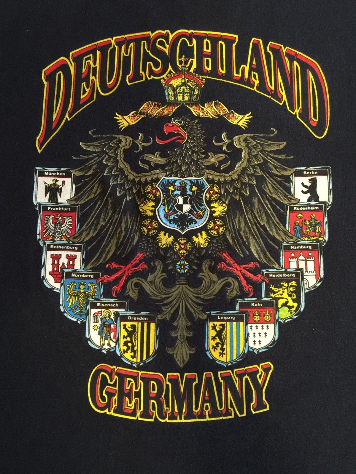 Fruit of The Loom Deutschland Germany Black T Shirt Size