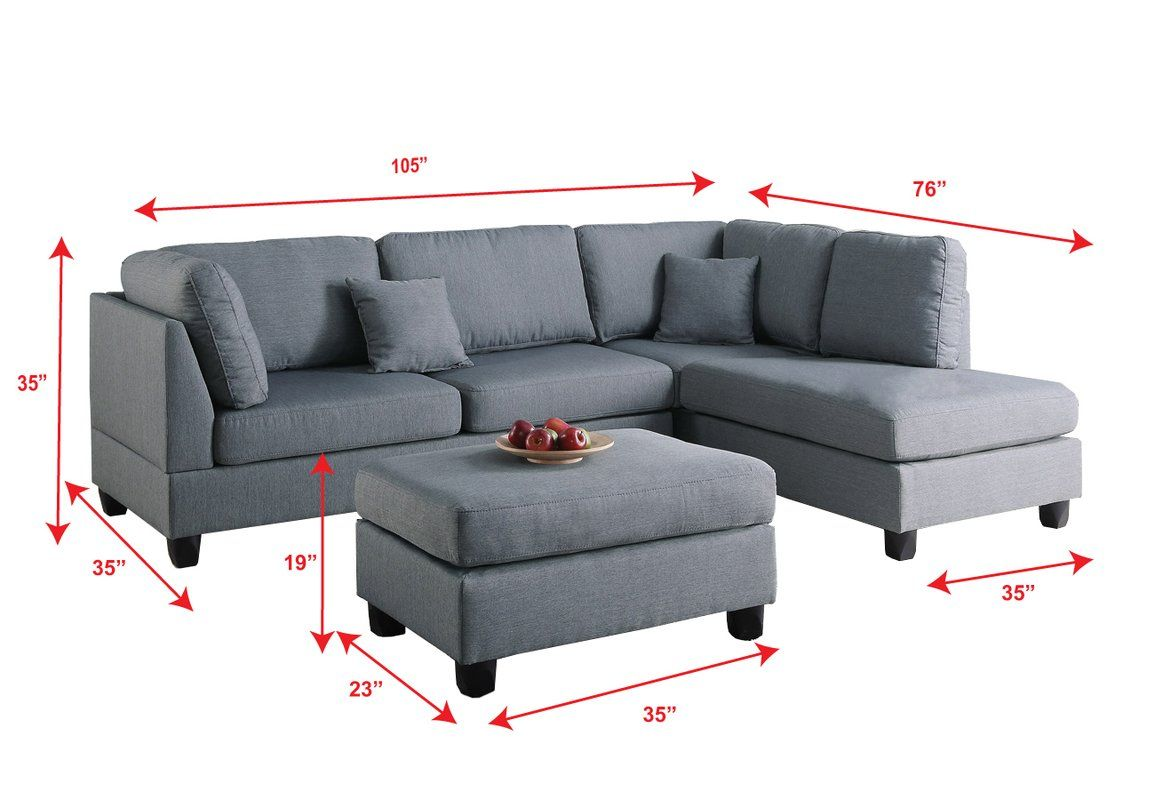Hemphill 104 Reversible Sectional With Ottoman Sectional Sofa