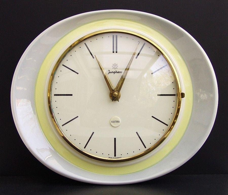 Details zu 50er Jahre JUNGHANS ELECTORA Wanduhr - Küchenuhr - küchen wanduhren design