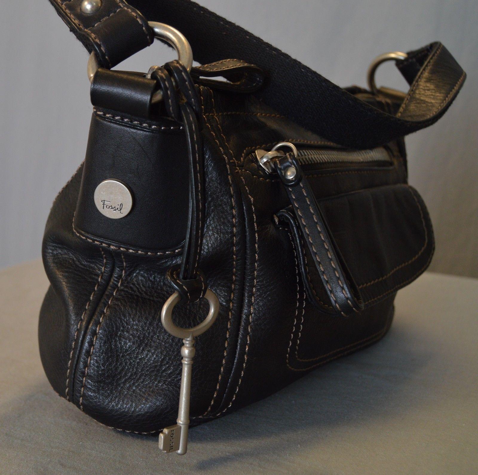 Fossil Small Black Shoulder Bag Leather Handbag Purse