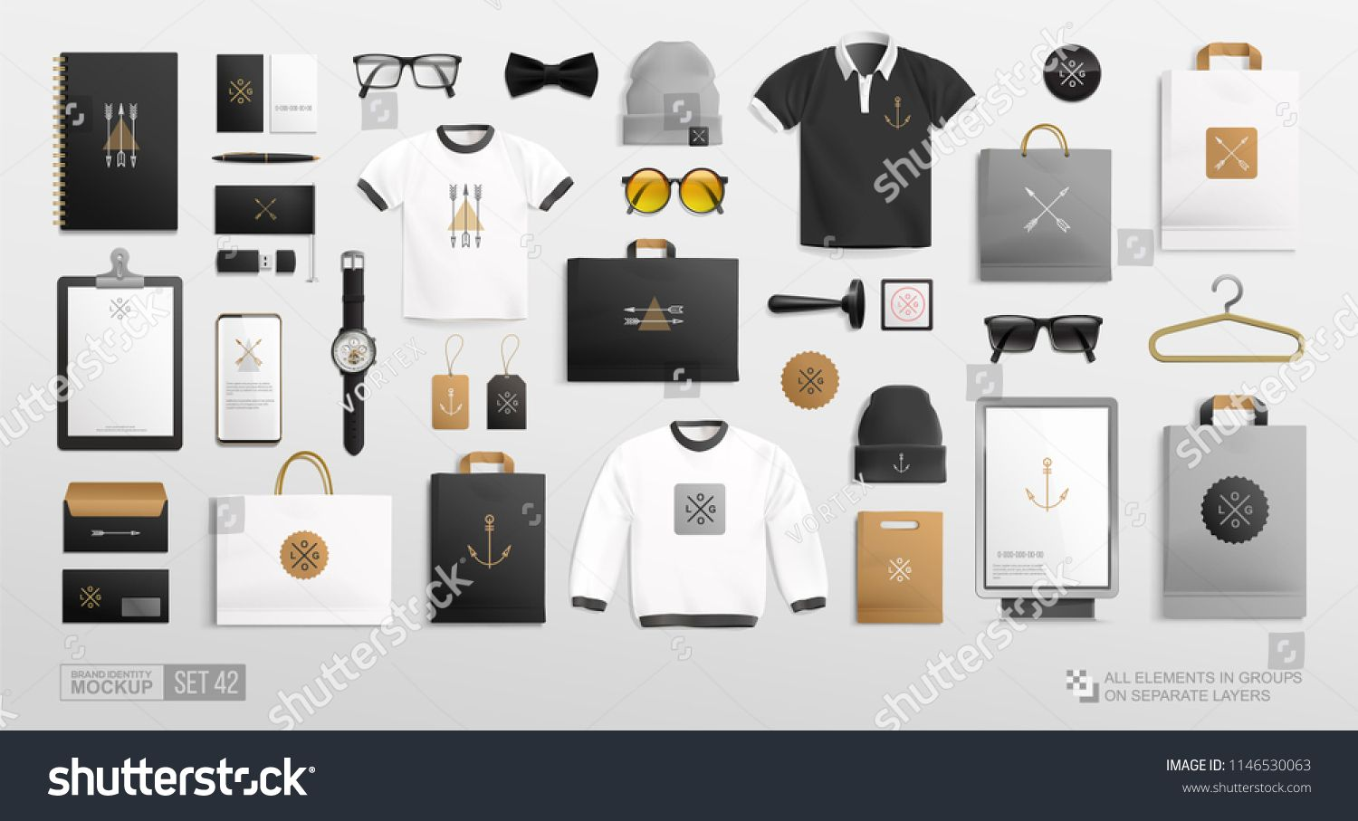 Vector Branding Identity Fashion Clothing Items And Stationery Elements Mockup Set For Men S Store Vector Mockup Set Of Clothing Items Men Store Set Shopping
