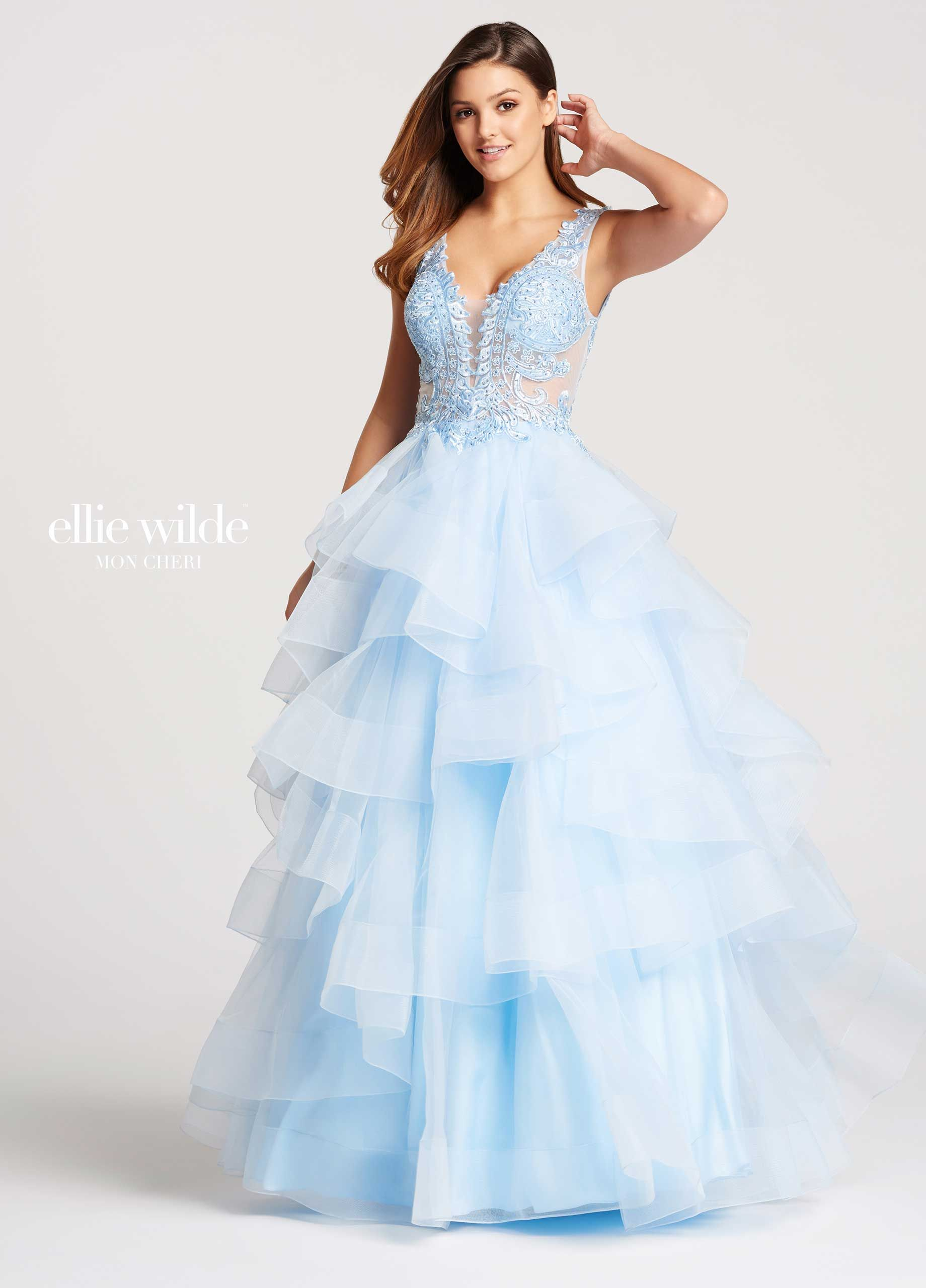 c9d2766f83d7 Ellie Wilde EW117081 - Sleeveless tulle ball gown with lace and heat-set  stone bodice, plunging V-neckline with illusion modesty panel, low scooped  back, ...