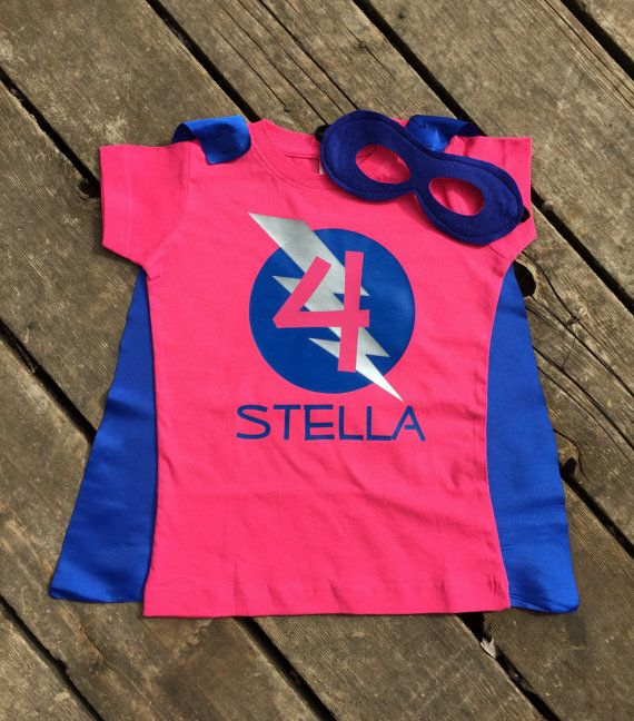 c0d4da609 Girls Personalized Superhero T-Shirt with Cape and Mask Custom Birthday or  Party Super Hero Shirt with Lightening Bolt and Initial