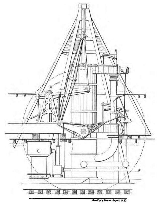Crosshead engine diagram of PS Belle - Marine steam engine