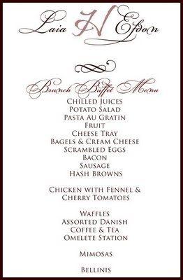 Buffet Style Wedding Menu Ideas   Invitationsjdi.org