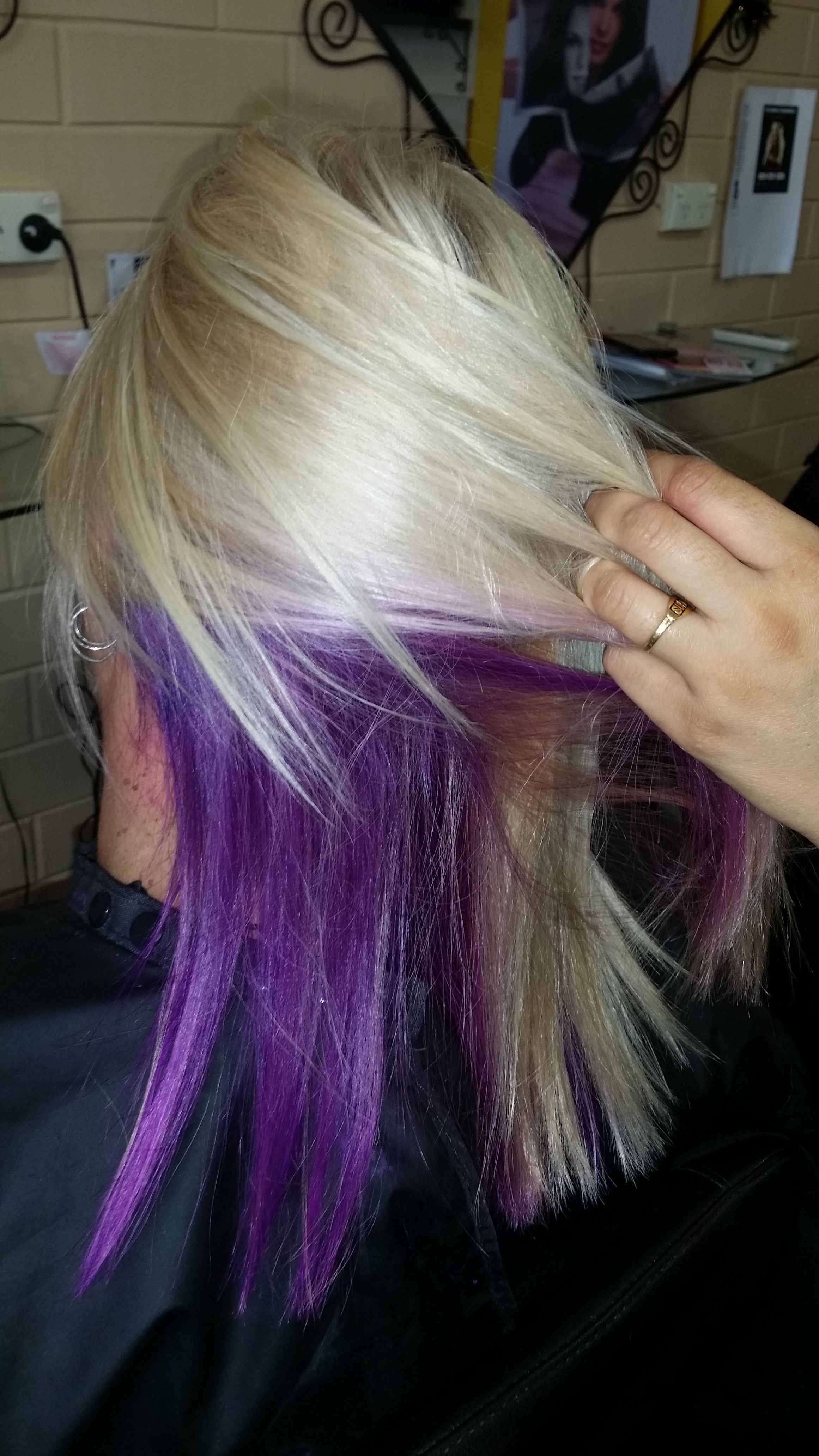 Brooke S Peek A Boo Purple With Blonde Hair Www Hair Salon Noarlunga Com Au For Great Deals Purple Blonde Hair Hair Color Highlights Blonde Hair Color