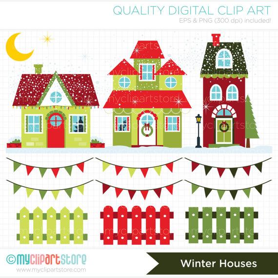 House With Christmas Lights Clipart.Clipart Christmas Houses Winter House Digital Clip Art