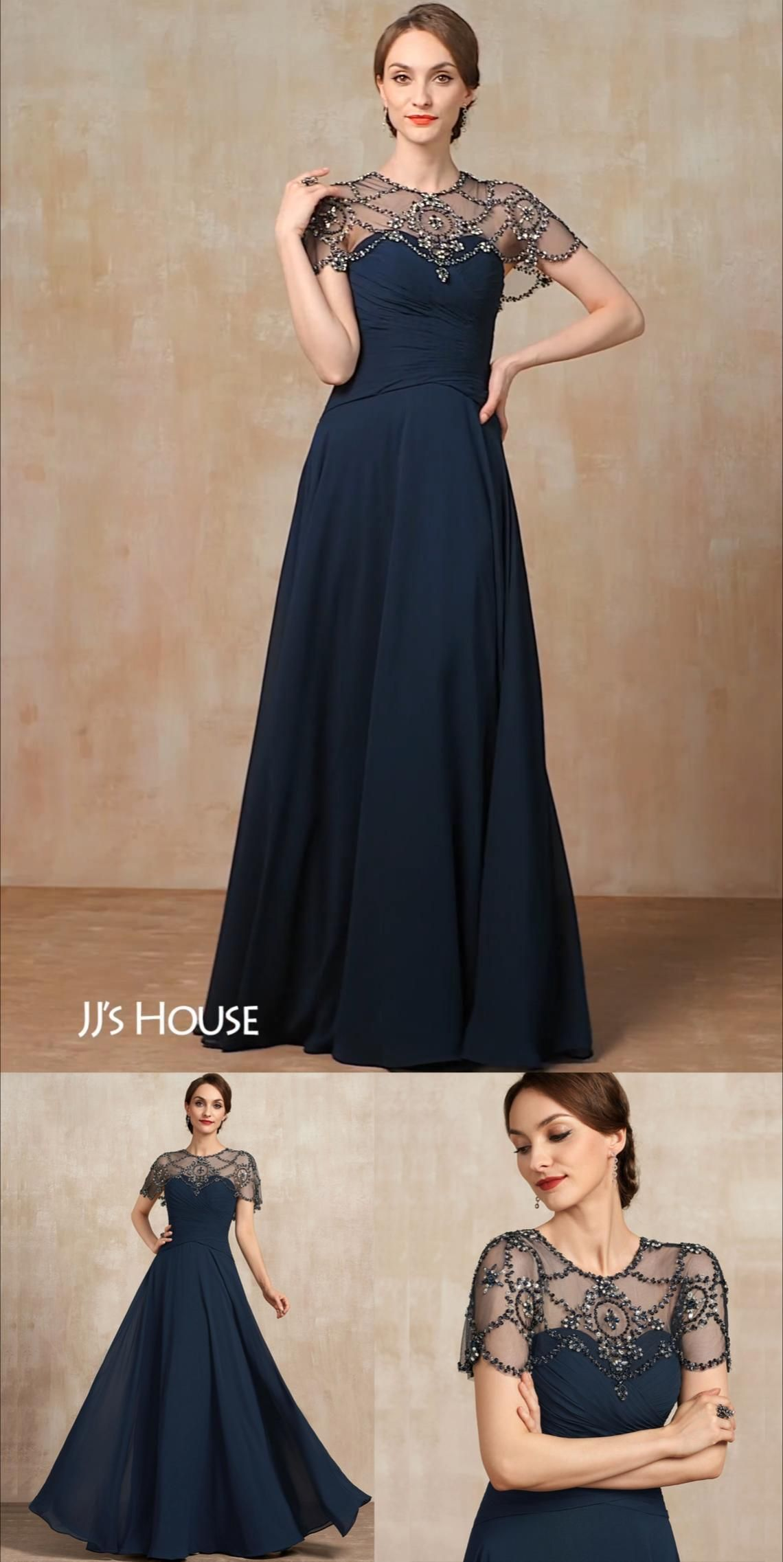 A-Line Scoop Neck Floor-Length Chiffon Mother of t