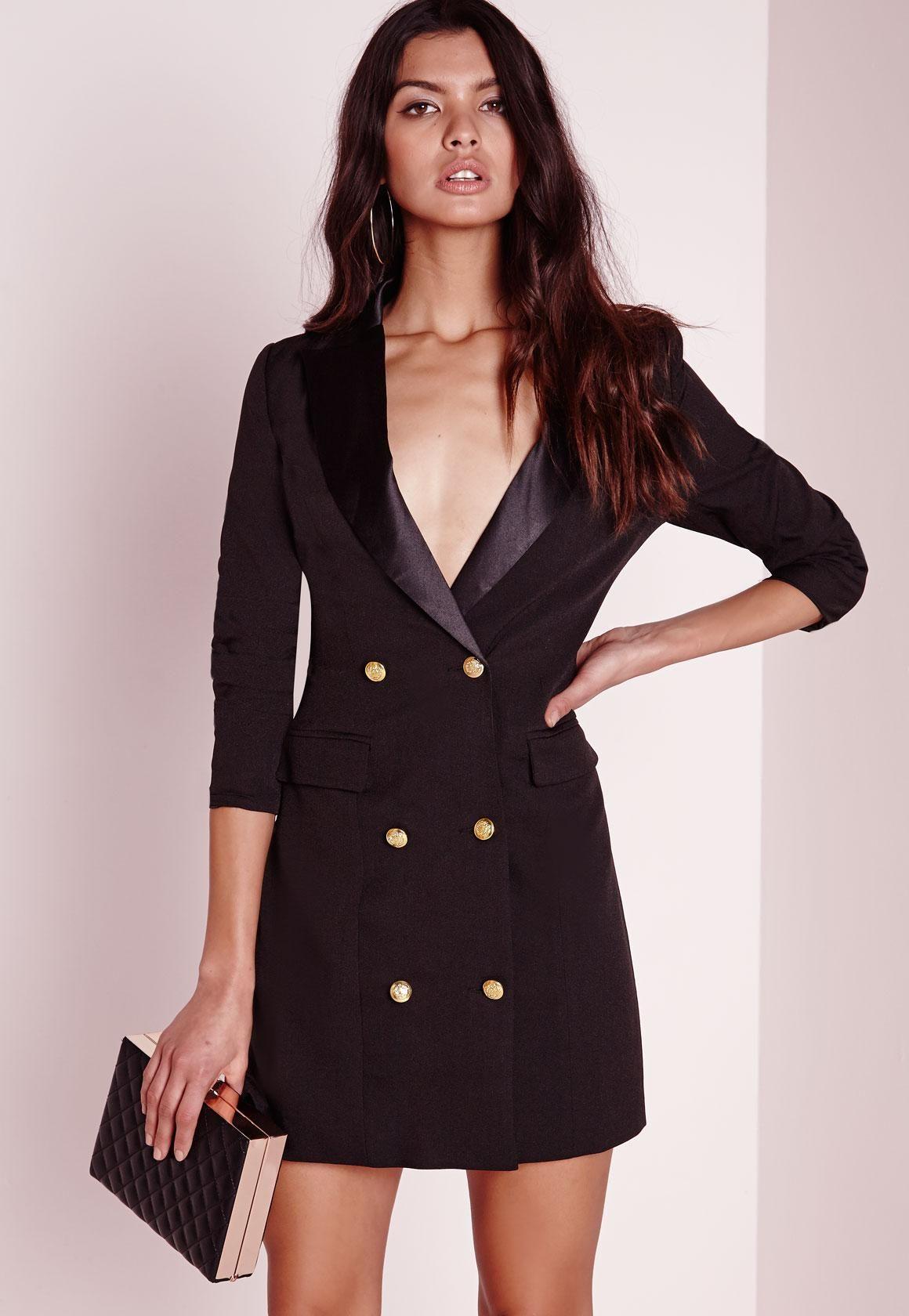 doux et léger site professionnel fournisseur officiel Missguided - Robe-blazer noire à manches longues Petite ...