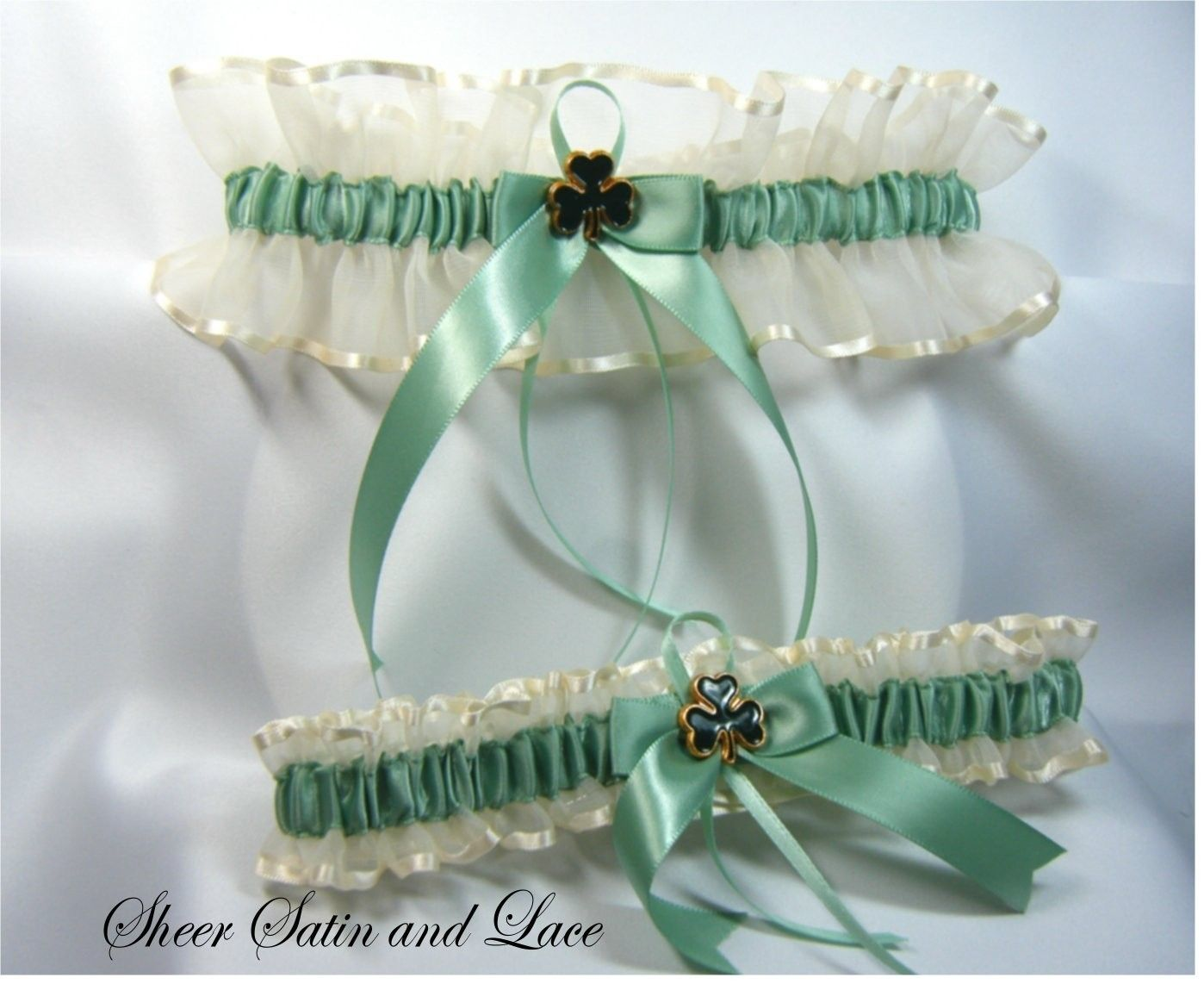 This Is A Beautiful Irish Wedding Garter Set With Shamrock Detail There One For