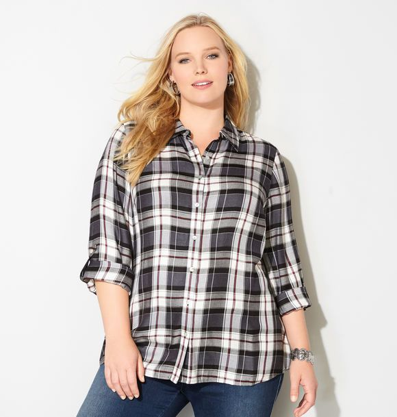 Merlot Plaid A-Line Shirt