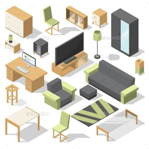 Furniture Set For Bed Room Vector Isometric In 2019