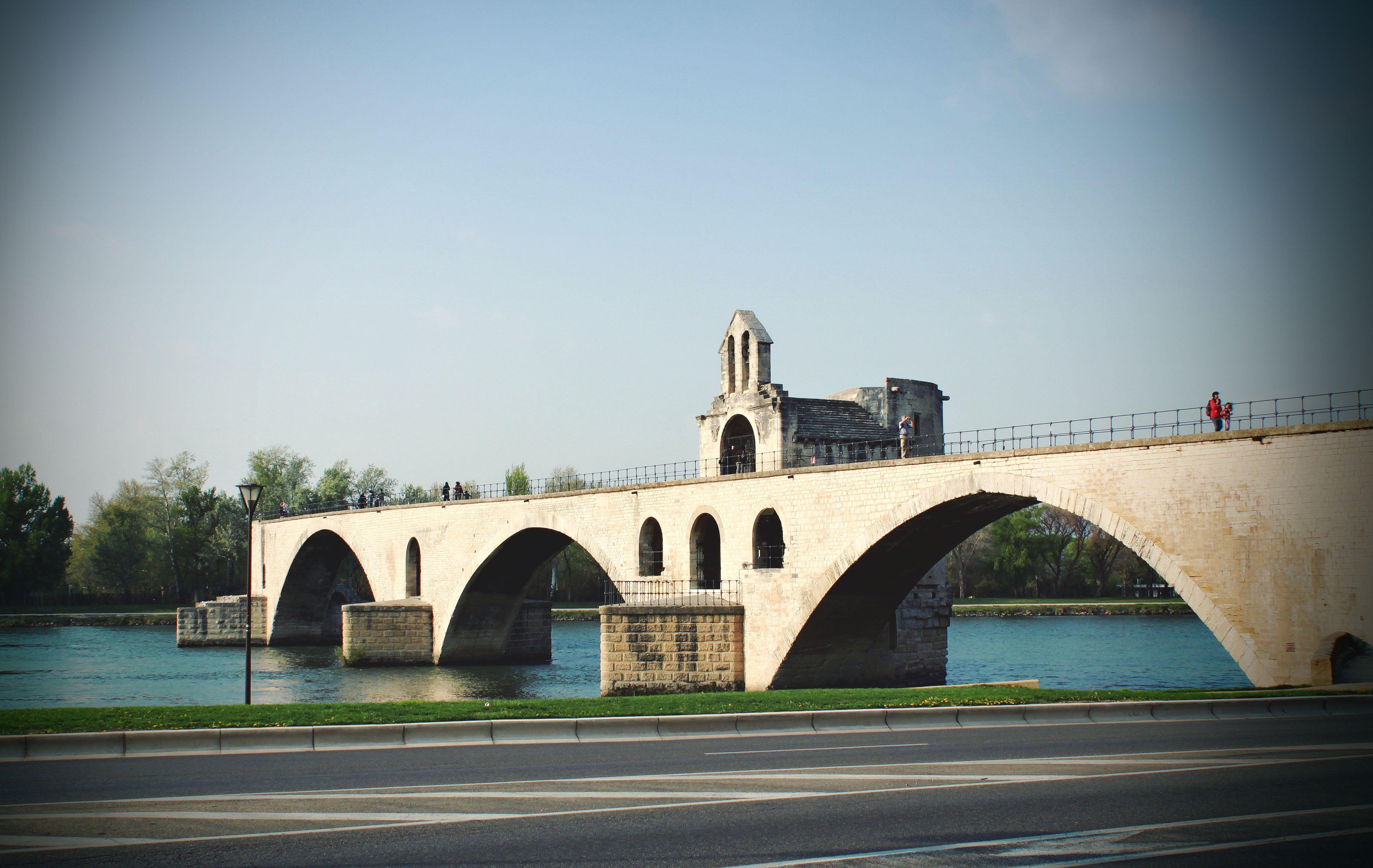 """Pont Saint-Bénézet, known from the song """"Sur le pont d' Avignon"""", Avignon, France"""