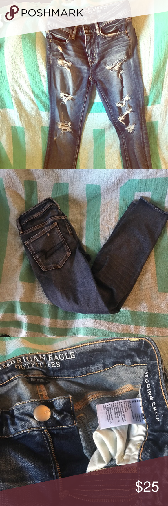 AEO jegging crop Sz 4 Super Stretch destroyed. Downsizing and I don't ever wear these enough to do em justice American Eagle Outfitters Jeans Ankle & Cropped