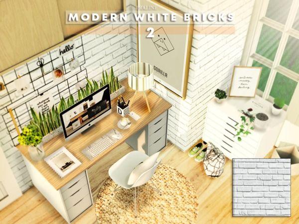 Pralinesims Modern White Bricks 2 Sims 4 Modern House Sims 4 Sims House