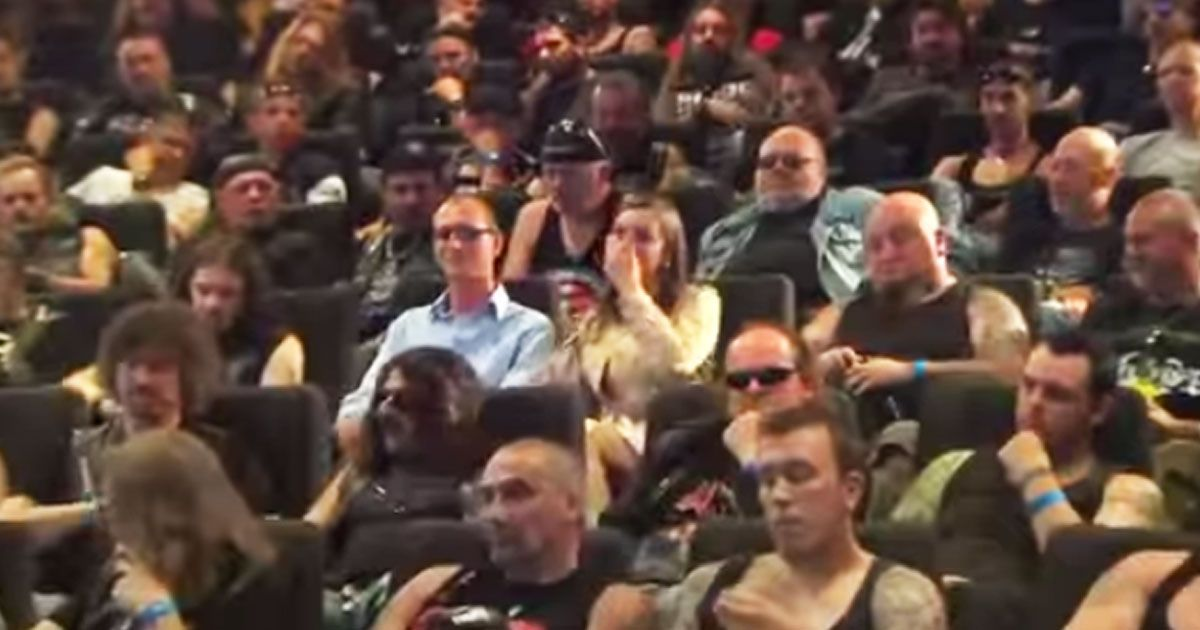 What if you were watching a movie at the theaters, and you were surrounded by bikers?