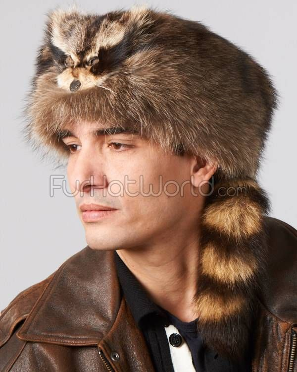 Coonskin Hat: Raccoon Fur Coonskin Cap With Face For Men