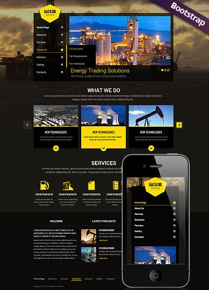 Gas and Oil website template Mobile Responsive Website, Bootstrap ...