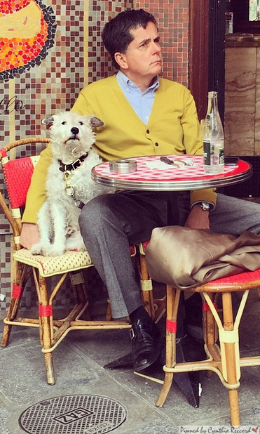 Parisian man and his dog enjoying a cafe | Something so charming about this photo! | cynthia reccord