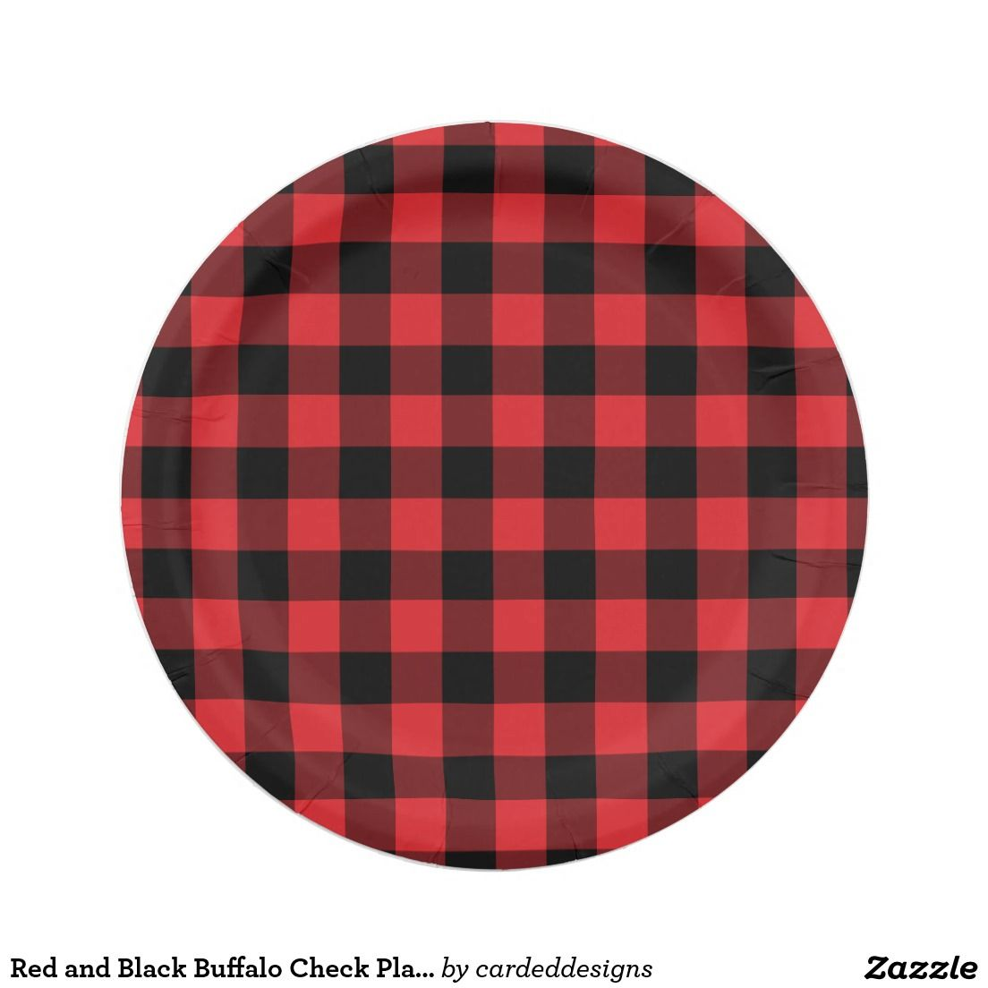 Red and Black Buffalo Check Plaid Pattern 7 Inch Paper Plate  sc 1 st  Pinterest & Red and Black Buffalo Check Plaid Pattern Paper Plate | Lumberjack ...