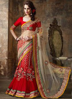 Z Fashion Trend: FASCINATING RED AND WHITE BRIDAL LEHENGA