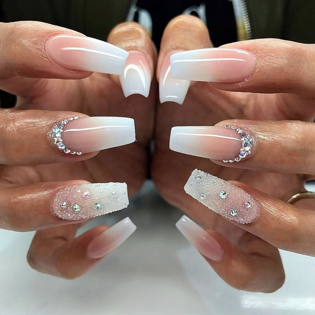 Piggieluv Freehand Stairway To Heaven Nail Art: 9 Charming Color Scheme Ideas Pink And White Coffin Nails