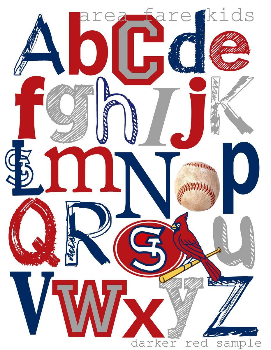 8 X 10 Mlb Baseball Abc Nursery Art Prints 15 00 Via Etsy Change To Rangers And It Is Perfect With Images Abc Nursery Cardinals Baseball Angels Baseball