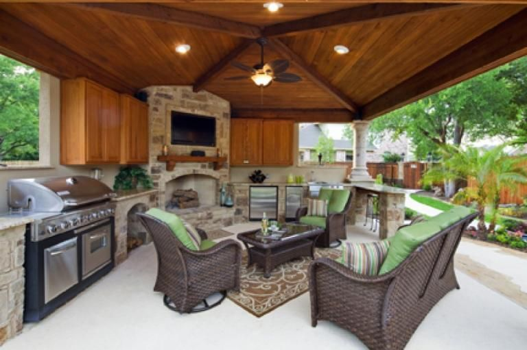 The Best Original Project Summer Kitchen With Fireplace #outdoor #living #room #with #fireplace
