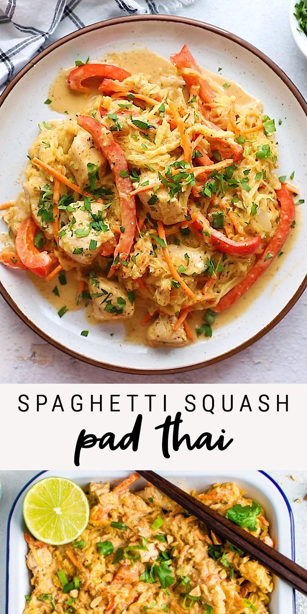 Easy Spaghetti Squash Pad Thai with Chicken