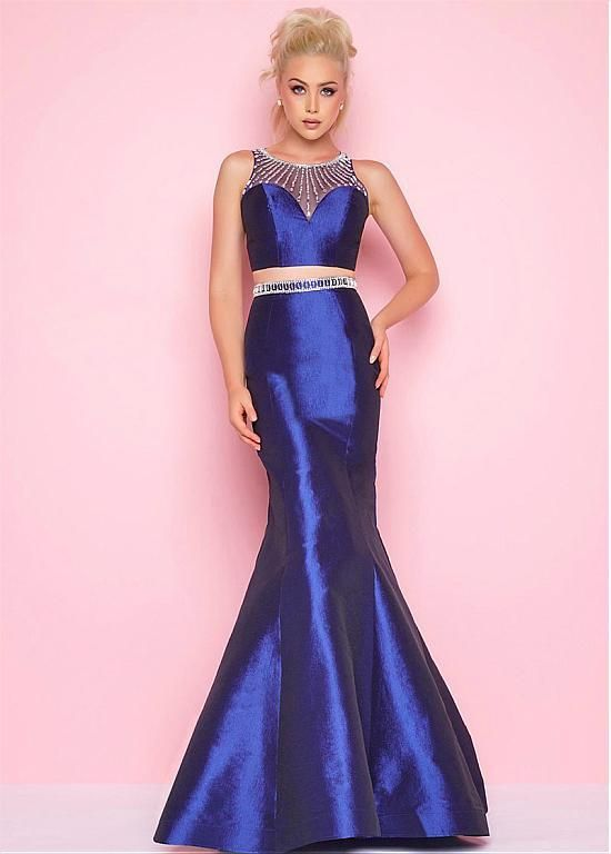 Dressilyme Newest Taffeta Jewel Neckline Two-piece Cut-out Mermaid ...