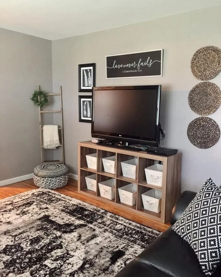 43 best farmhouse living room tv wall decor ideas 37 in ...