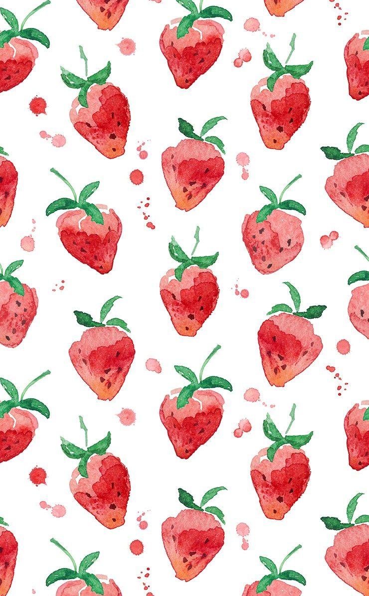 Watercolor Strawberry Wallpaper Illustration Watercolor