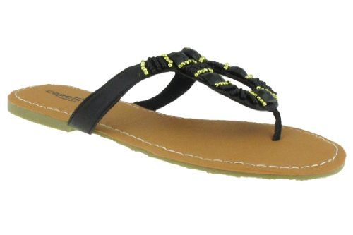 7be3ac5acfbd Capelli New York Ladies Looped Fashion Flip Flop Thong With Stone And Beaded  Trim Black Combo 7