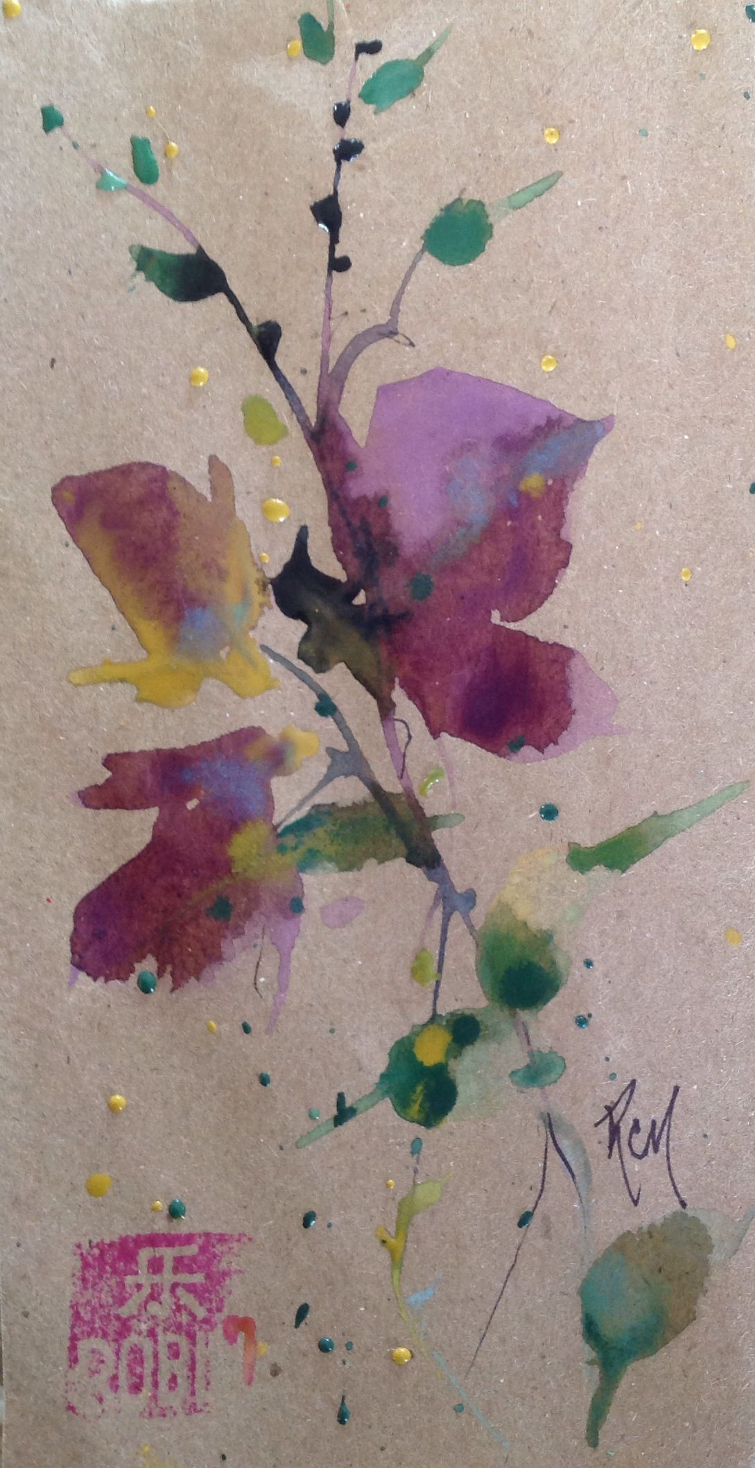 "The Purples Oriental Watercolors 3""x6"" Study Robin Miller- (Bookhout)"