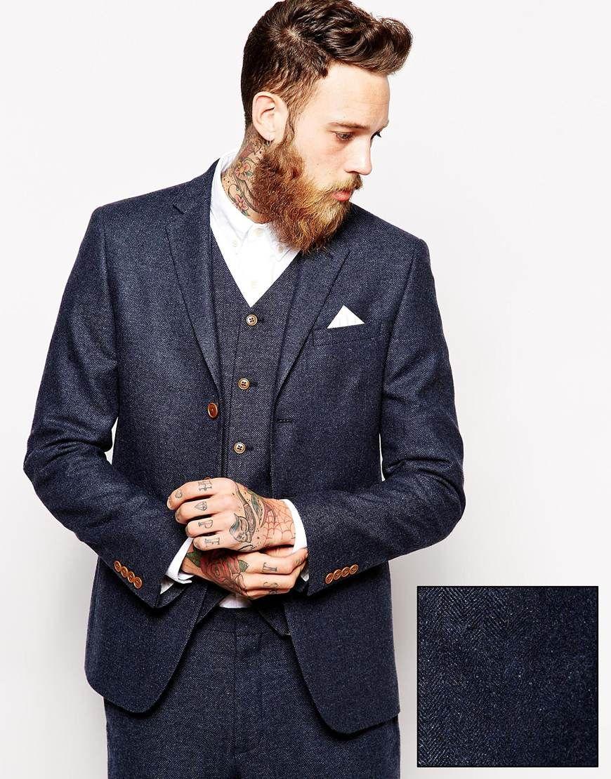 Image 1 of ASOS Slim Fit Suit Jacket In Herringbone | O ...