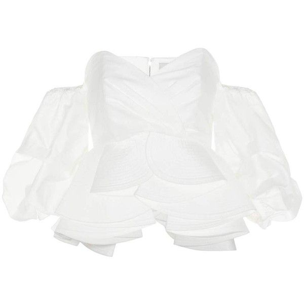 Johanna Ortiz Bird of Paradise Off-the-Shoulder Cotton Blouse (€890) ❤ liked on Polyvore featuring tops, blouses, short-sleeved, white, short sleeve tops, off the shoulder short sleeve tops, white off shoulder blouse, white blouse and short sleeve cotton blouses