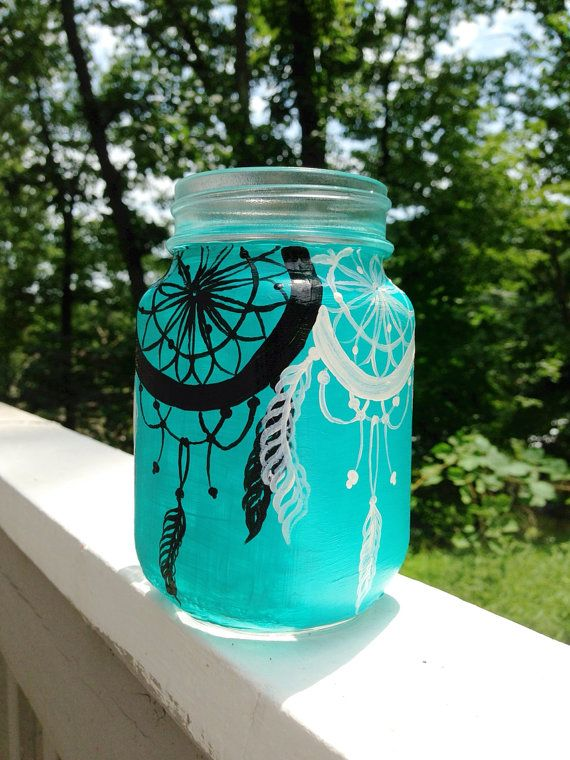 Hand Painted Dream Catcher Mason Jar Mug By ArianaVictoriaRose Interesting Dream Catcher Jar