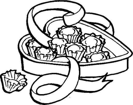 valentine chocolate coloring pages - photo#1