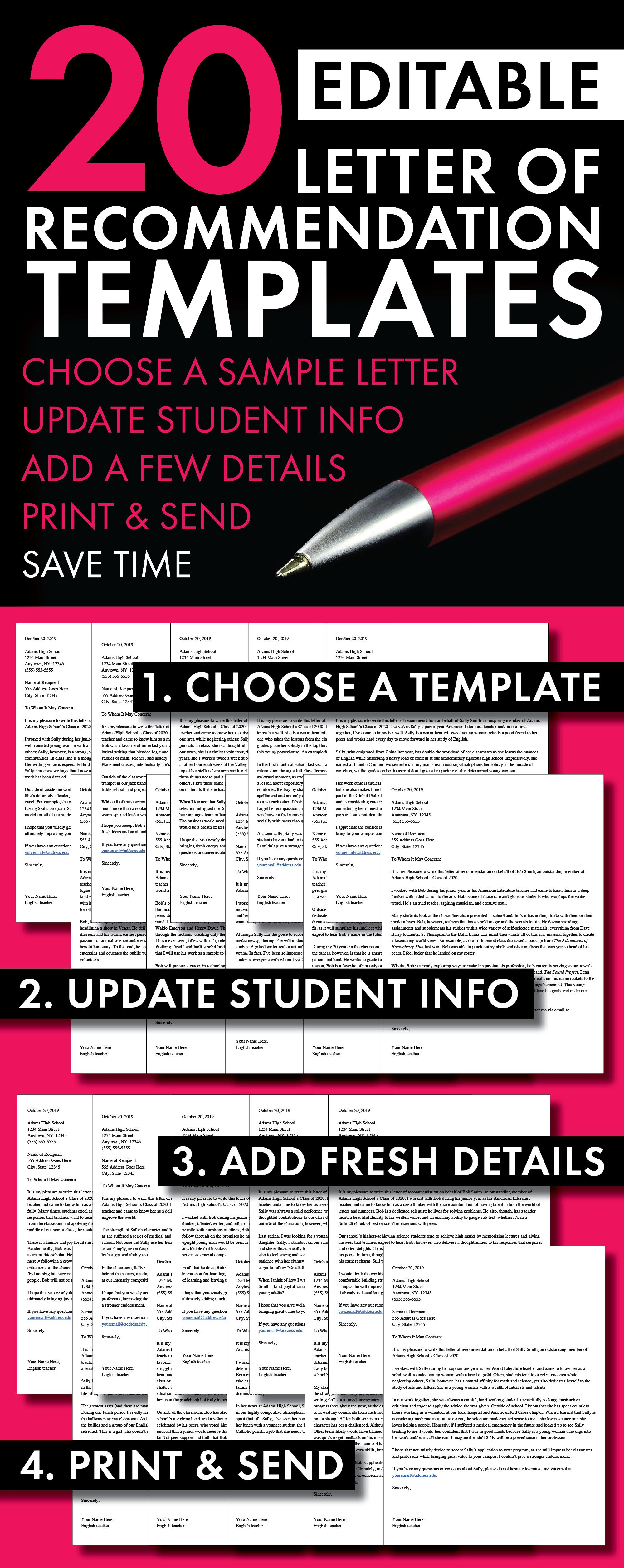 Letter of recommendation templates college application letter college application letters of recommendation templates high school teachers save time with this set of pre written letter templates thecheapjerseys Gallery